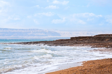early blue dawn on Dead Sea coast photo