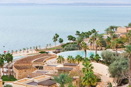 panorama of resort on Dead Sea coast, Jordan