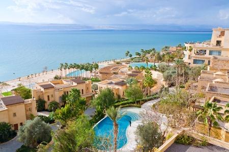 seafront: panorama of resort on Dead Sea coast, Jordan