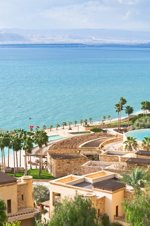 panorama of resort on Dead Sea coast, Jordan photo