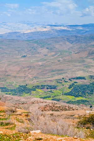 promised: view of Promised Land from Mount Nebo in Jordan