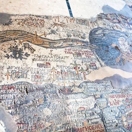 byzantine: ancient byzantine map of Holy Land on floor of Madaba St George Basilica, Jordan