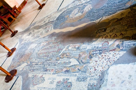 ancient byzantine map of Holy Land on floor of Madaba St George Basilica, Jordan