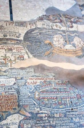 ancient byzantine map of Holy Land on floor of Madaba St George Basilica, Jordan photo