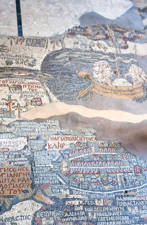 ancient byzantine map of Holy Land on floor of Madaba St George Basilica, Jordan photo