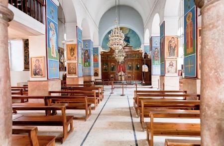 interior of Greek Orthodox Basilica of Saint George in town Madaba, Jordan