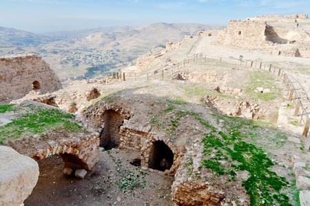 view on Upper court of ancient castle Kerak, Jordan photo