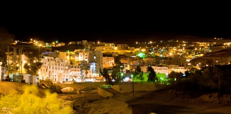 wadi: night view on town Wadi Musa, the closest town to the Petra, Jordan