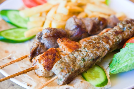 turkish kebab: skewers mix arabic kebabs in Jordanian street restaurant
