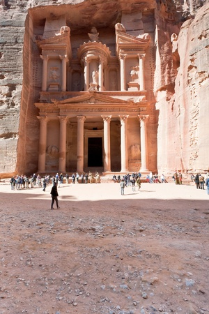 PETRA - JORDAN, FEBRUARY,21: SYmbol of Petra - Treasury Monument and plaza in antique city on 21 February, 2012 in Petra, Jordan. Petra has been  Established around the 6th century BC as the capital city of the Nabataeans.