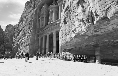 PETRA - JORDAN, FEBRUARY,21: SYmbol of Petra - Treasury Monument and plaza in antique city on 21 February, 2012 in Petra, Jordan. Petra was rediscovered for the western world by Swiss explorer Johann Ludwig Burckhardt in 1812