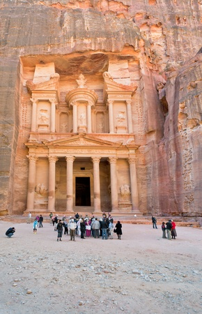 PETRA, JORDAN - FEBRUARY 21: Treasury Monument in antique city on February 21, 2012 in Petra, Jordan. Petra has been established around the 6th century BC as the capital city of the Nabataeans
