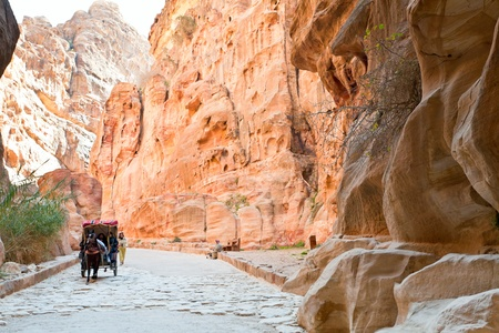bedouin carriage in Siq passage to Petra city, Jordan Stock Photo - 13096018