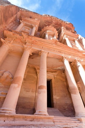 facade of The Treasury Monument in antique city Petra