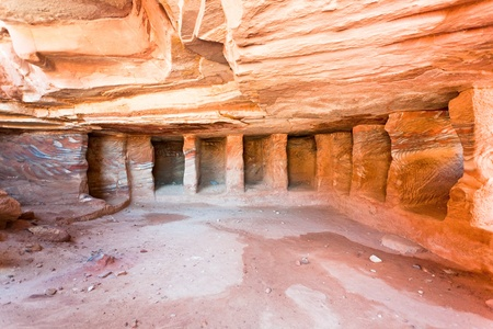 interior of ancient tomb or dwelling in sandstone cave in Petra, Jordan   Stock Photo - 13096026