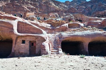 petra  jordan: modern bedouin house in ancient cave in Petra, Jordan