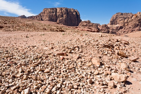 talus: stone wildness in mountain valley in Petra, Jordan