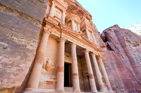facade of The Treasury Monument in antique city Petra, Jordan