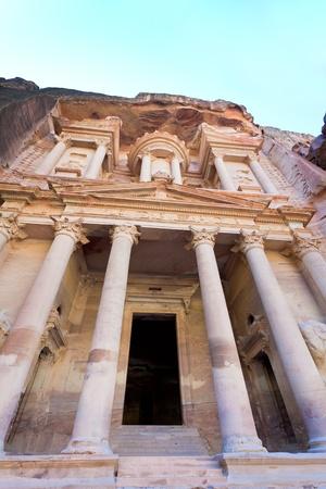 facade of The Treasury Monument in antique city Petra, Jordan
