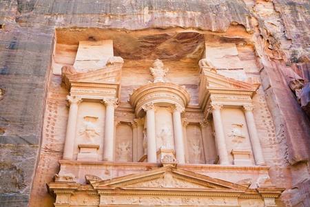 upper level of facade The Treasury in Petra, Jordan