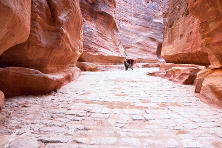 The Siq - way to ancient city Petra, Jordan photo