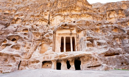 antique Nabatean Temple in Little Petra, Jordan photo