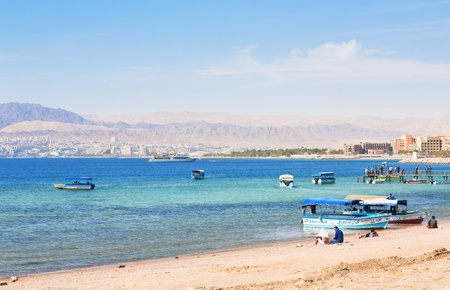 AQABA - JORDAN, FEBRUARY,23: Urban beach in jordanian town on February 23, 2012 in Aqaba. Jordan country has only one exit to sea, length of Aqaba coast - 27 km.