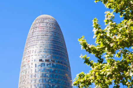 BARCELONA - APRIL,26: Torre Agbar on Technological District on April 26, 2012 in Barcelona, Spain. This 38-storey tower was designed by the famous architect Jean Nouvel