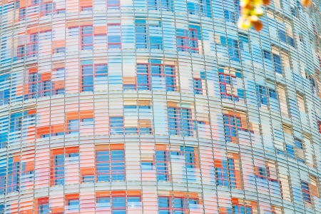 BARCELONA - APRIL,26: wall of Torre Agbar tower on April 26, 2012 in Barcelona, Spain.  The tower measures a total of 50693 square metrs, of which 30000 are offices.