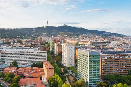 tibidabo: view on Barcelona and Tibidabo Mountain with TV tower and Expiatory Church of the Sacred Heart of Jesus