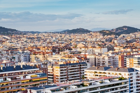 panorama of Barcelona city in evening photo