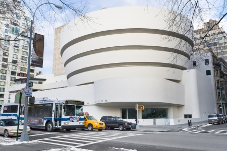 NEW YORK - FEBRUARY 4: The Solomon R. Guggenheim Museum of modern and contemporary art. Designed by Frank Lloyd Wright museum opened on October 21,1959. On February 4, 2010 in  New York City, USA