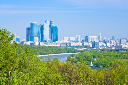 panorama of new Moscow City buildings in spring photo