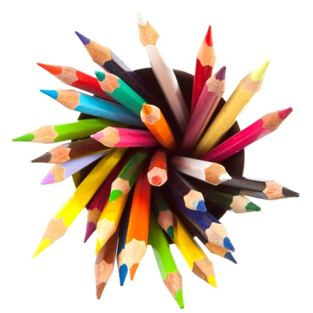 many different colored pencils with white background photo