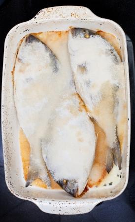 daurade: three dourada fish baked in salt