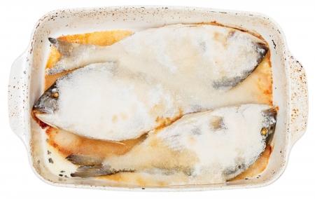 daurade: three dorada fish baked in salt Stock Photo