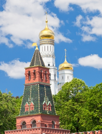 view on Moscow Kremlin tower and Ivan the Great Bell Tower in summer day photo