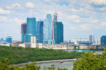 view of new Moscow City buildings in spring photo
