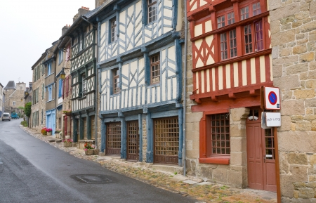 street in old Breton town Treguier, France photo