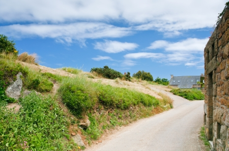 earthroad: road in Breton village, France