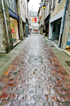 dinan: old paved road in Dinan town, France