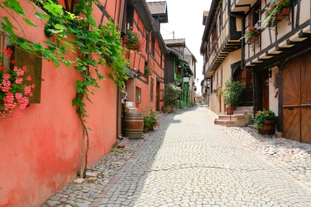 alley in medieval Riquewihr town on wine route Alsace. Riquewihr known for the Riesling and other great wines produced in the village. photo