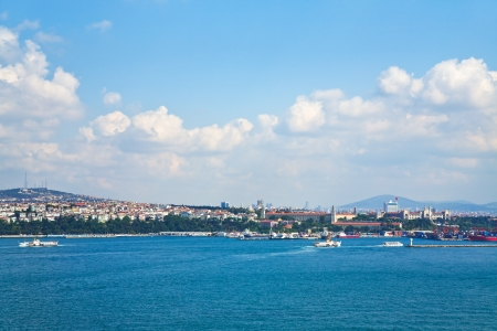 view on Istanbul Asian side in sunny day through Bosphorus photo