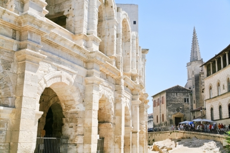 arles: Amphitheatre, a Roman arena in Arles town, France