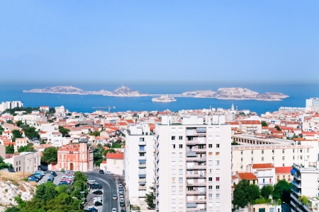 alexandre duma: cityscape of Marseille and view on Chateau dIf near, France