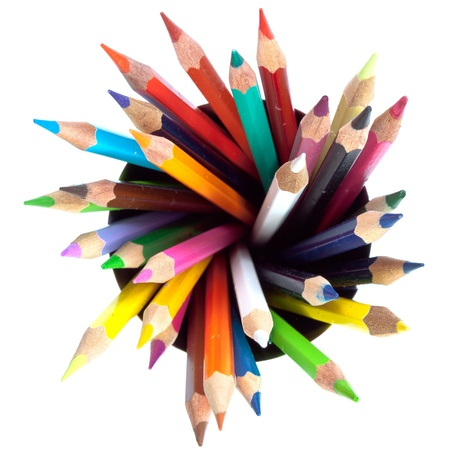 many colored pencils with white background photo