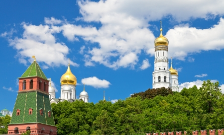 towers and Cathedrals of Moscow Kremlin in summer day photo