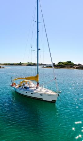 manche: yacht in La Manche near Ile de Brehat, Brittany, France