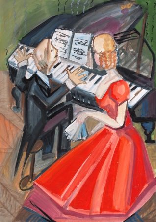 woman in red dress and pianist on music lesson photo