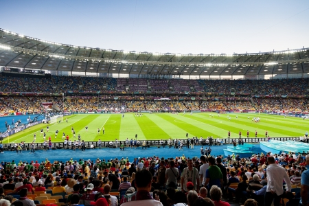 uefa: KIEV, UKRAINE - JULY 1: view of Kyivs Olympic Stadium before final game of UEFA EURO 2012 in Kiev, Ukraine on July 1, 2012. The capacity of the stadium after is 70050 visitors.
